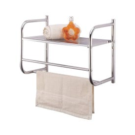 Simple Spaces BR32-CH Wall Rack, Each shelf 11, Each towel rack 6.6 lb Max Weight Capacity, Metal, Polished Chrome