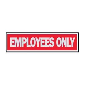 HY-KO 409 Princess Sign, Rectangular, EMPLOYEES ONLY, Silver Legend, Red Background
