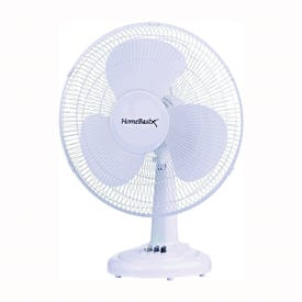 PowerZone FT-40 Oscillating Table Fan, 120 V, 16 in Dia Blade, 3-Blade, 3-Speed, 72 in L Cord, White