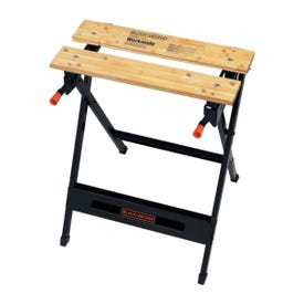 Black+Decker WM125 Portable Project Center and Vise, 29-3/4 in OAH, 350 lb Capacity, Black, Wood Tabletop