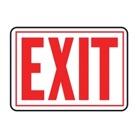 HY-KO SS-2W Sign, Exit, Red Legend, Aluminum, 14 in W x 9-1/4 in H Dimensions