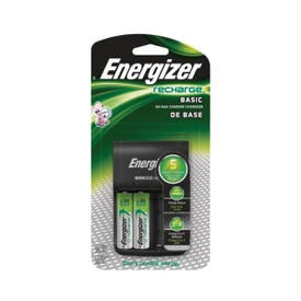 Energizer CHVCWB2 Battery Charger, AA, AAA Battery, Nickel-Metal Hydride Battery, 4-Battery, Fold-Out Plug, Silver