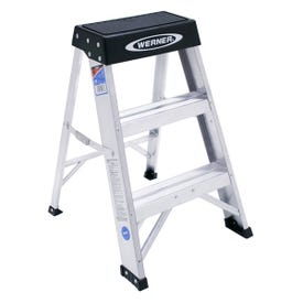 WERNER 150B Step Ladder, 8 ft Max Reach H, 3-Step, 300 lb, Type IA Duty Rating, 3 in D Step, Aluminum, Black