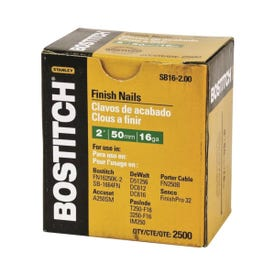 Bostitch SB16-200 Finish Nail, 2 in L, 16 Gauge, Steel, Coated, Smooth Shank