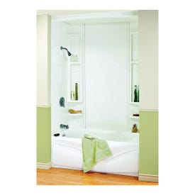 MAAX Finesse 101595-000-129 Bathtub Wall Kit, 80 in H, 61 in W, Polystyrene, White, Glue Up Installation, Smooth Wall