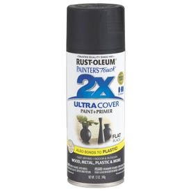 RUST-OLEUM PAINTER'S Touch 249127 All-Purpose Flat Spray Paint, Flat, Black, 12 oz Aerosol Can