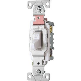 Eaton Wiring Devices CS320W Switch, 20 A, 120/277 V, 3-Way, Lead Wire Terminal, Nylon Housing Material, White
