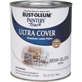 RUST-OLEUM PAINTER'S Touch 1993502 Brush-On Paint, Semi-Gloss, White, 1 qt Can