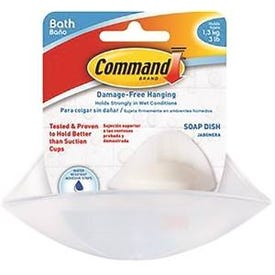 Command 17602B Soap Dish, Wall Mounting, Plastic, Frosted
