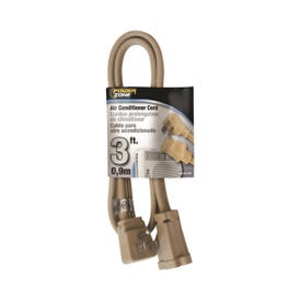 PowerZone OR681503 SPT3 Extension Cord, SPT-3, Vinyl, Beige, For: Air conditioner and Appliances