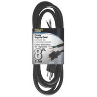 PowerZone OR010608 Power Cord, 5-15P, 8 ft L, 13 A, 125 V, Black Jacket