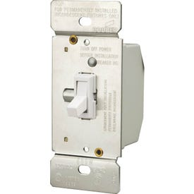 Eaton Wiring Devices TI306-W-K Toggle Dimmer, 5 A, 120 V, 600 W, CFL, Halogen, Incandescent, LED Lamp, 3-Way