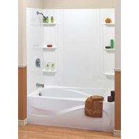 MAAX 101604-000-129 Bathtub Wall Kit, 59 in H, 48 to 60 in W, Polystyrene, White, Glue Up Installation