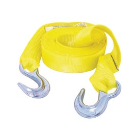 KEEPER 02815 Emergency Tow Strap, 12,000 lb, 2 in W, 15 ft L, Hook End, Polyester, Yellow