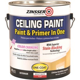 ZINSSER 260967 Ceiling Paint, Flat, Bright White, 1 gal Can
