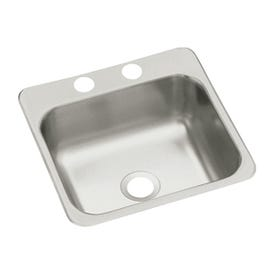 Sterling Traditional B155-2 Bar Sink, Square Bowl, 2-Hole, 15 in W x 5-1/2 in D x 15 in H Dimensions, Satin
