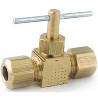 Anderson Metals 759106-04 Straight Needle Shut-Off Valve, 1/4 in Connection, Compression, Brass Body