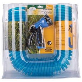 Landscapers Select GT-445030 Coil Hose with Nozzle Set, 50 ft L, Female x Male, PVC, Blue