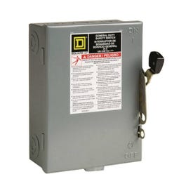 Square D D211NCP Safety Switch, 2-Pole, 30 A, 120/240 V, DPST, Lug Terminal