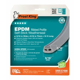 Frost King V27GA Weatherseal, 9/16 in W, 10 ft L, EPDM Rubber, Gray