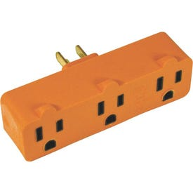 Powerzone ORAD0100 Grounded Outlet Tap, 3-Outlet, Orange