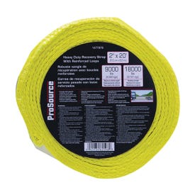 ProSource FH64062 Recovery Strap, 18,000 lb, 2 in W, 20 ft L, Polyester, Yellow