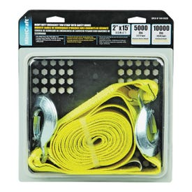 ProSource FH64061 Emergency Tow Strap, 10,000 lb, 2 in W, 15 ft L, Hook End, Polyester Webbing, Steel Hook, Yellow
