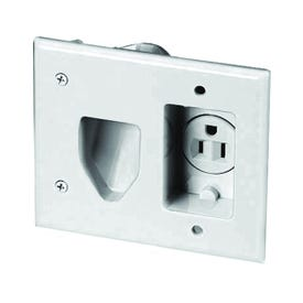 Eaton Wiring Devices 35MRW Cable Plate with Receptacle, 2-Gang, White