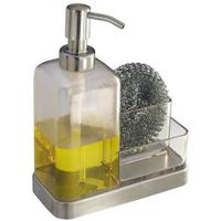 IDESIGN 67080 Soap and Sponge Caddy, Stainless Steel, Clear