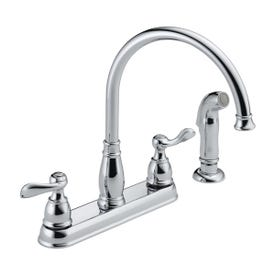 DELTA Windemere 21996LF Kitchen Faucet with Side Spray, 1.8 gpm, 2-Faucet Handle, Plastic, Chrome, Deck Mounting