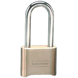 Master Lock 175DLH Combination Padlock, 5/16 in Dia Shackle, 2-1/4 in H Shackle, Steel Shackle, Brass Body