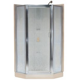 Sterling Intrigue SP2276A-38S Shower Door, Rain Glass, Tempered Glass, Aluminum Frame, Stainless Steel
