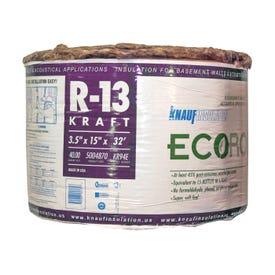 Knauf Insulation EcoRoll KR94E/TAK Fiberglass Insulation, 40 sq-ft Coverage Area, 32 ft L, 15 in W, R-13 R-Value