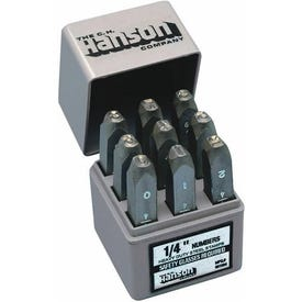 CH Hanson 20581 Number Stamp Set, 9-Piece, Steel, Specifications: 1/4 in Character, 3/8 x 2-5/8 Shank