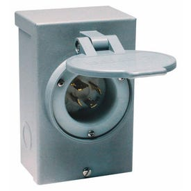 RELIANCE CONTROLS PB30 Power Inlet Box, 30 A, 125/250 V, Gray
