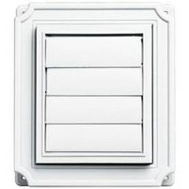BUILDERS EDGE 140037079001 Exhaust Vent, 8 in OAL, 7 in OAW, 12 sq-in Net Free Ventilating Area, White