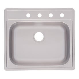 KINDRED FSS804NB Kitchen Sink, 4-Faucet Hole, 25 in OAW, 22 in OAD, 8 in OAH, Stainless Steel, Top Mounting