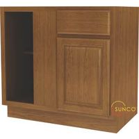 Sunco Randolph BBC42RT Kitchen Cabinet, 45 in OAW, 36 in OAD, Wood, Amber, 1-Drawer, 1-Shelf, Assembled