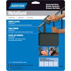 NORTON MetalSand 07660747855 Sanding Sheet, 11 in L, 9 in W, Emery Cloth Abrasive, Cloth Backing