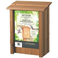 North States 1641 Bat House, 9 in W, 5-1/4 in D, 12 in H, Cedar Wood, Post, Fence Mounting