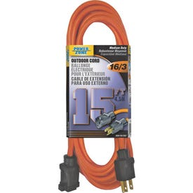 Powerzone OR501615 Extension Cord, 16 AWG, Orange Jacket, 15 ft L