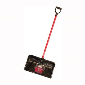BULLY Tools 92814 Snow Shovel, 22 in W Blade, 19-3/4 in L Blade, Plastic Blade, Fiberglass Handle, 56 in OAL