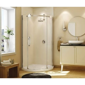 MAAX 105760-000-001-10 Shower Kit, 36 in L, 36 in W, 78 in H, Acrylic, Chrome, Round, 8 mm Glass