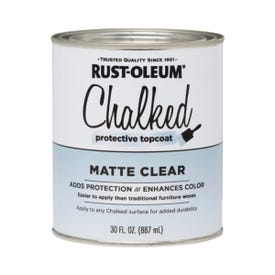 RUST-OLEUM Chalked 287722 Chalked Protective Topcoat, Matte, Clear, 30 oz, Pint