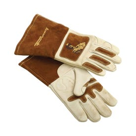 ForneyHide 53410 Welding Gloves, Men's, L, 12-5/8 in L, Gauntlet Cuff, Brown/White, Reinforced Crotch Thumb