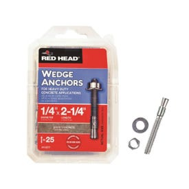 RED HEAD 11277 Wedge Anchor, 1/4 in Dia, 2-1/4 in L, Steel, Zinc