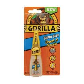 Gorilla 7500102 Super Glue Brush and Nozzle, Liquid, Irritating, Straw/White Water, 10 g Bottle