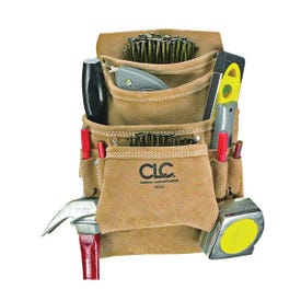 CLC Tool Works I923X Nail and Tool Bag, 10 -Pocket, Suede Leather, Tan, 20-1/2 in W, 12 in H
