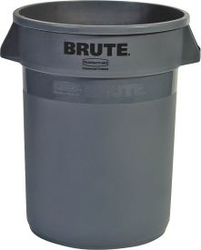 Rubbermaid Plastic Gray Round Container 32 Gal