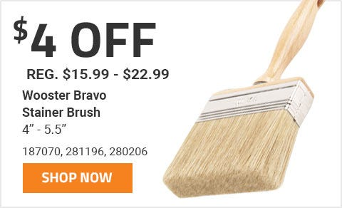 4 Dollars Off Wooster Bravo Stainer Brush 4 in. - 5.5 in. now through June 30th 2019